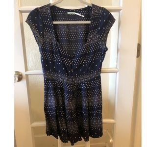 Navy Blue Romper With Lace-Up Back